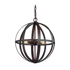 Small Orb Pendant Light in Weathered Iron Finish - 4-Lights