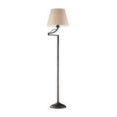 Floor Lamp with Beige / Cream Shade in Aged Bronze Finish