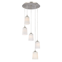 Design Classics Lighting Modern Multi-Light Pendant Light with Tapered Cylinder White Glass 580-09 GL1027
