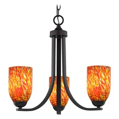 Bronze 3 Light Mini-Chandelier with Circus Glass Shade