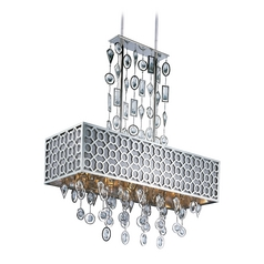 Crystal Pendant Light with Rectangle Shade in Polished Nickel Finish