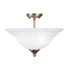 Livex Lighting North Port Antique Brass Semi-Flushmount Light