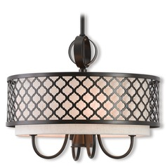 Livex Lighting Arabesque English Bronze Pendant Light with Drum Shade
