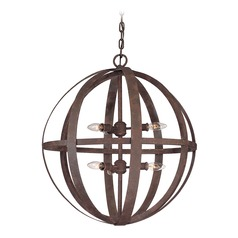 Orb Pendant Light in Weathered Iron Finish - 6-Lights