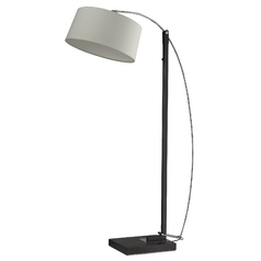 Modern Arc Lamp with White Shade in Dark Brown Finish