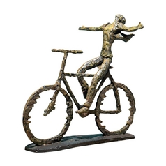 Modern Bicyle Sculpture in Sage Green / Rust Finish