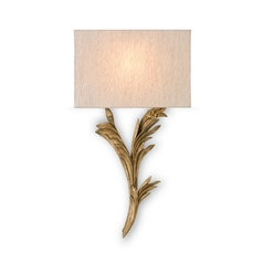Antique Gold Finish Sconce Wall Light with Oatmeal Shade