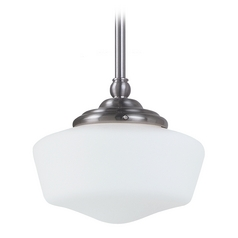 Schoolhouse Mini-Pendant Light with White Glass in Brushed Nickel