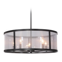 Craftmade Danbury Matte Black Pendant Light with Drum Shade