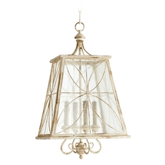 Quorum Lighting Salento Persian White with Mystic Silver Pendant Light with Square Shade