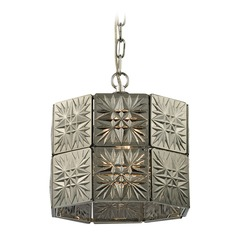 Elk Lighting Glass Tile Polished Chrome Pendant Light with Hexagon Shade