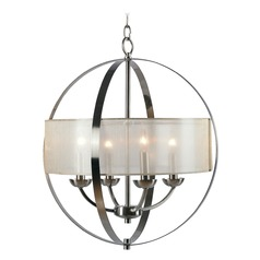 Kenroy Home Veil Brushed Steel Pendant Light with Drum Shade