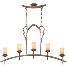 Island Light with Amber Glass in Rustic Bronze Finish
