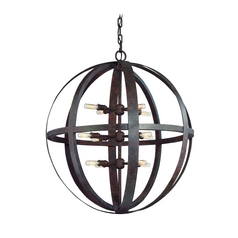 Orb Pendant Light in Weathered Iron Finish - 12-Lights