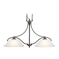 Kichler Island Light with White Glass in Olde Bronze Finish