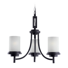 Sea Gull Lighting Modern 3-Light Mini Chandelier with White Glass in Blacksmith