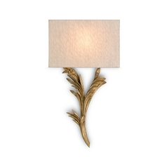 Antique Gold Finish Sconce Wall Light with Oatmeal Linen Shade