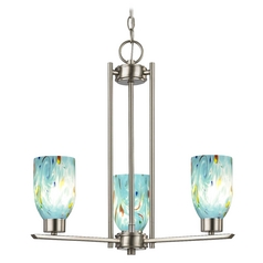 Chandelier with Blue Art Glass in Satin Nickel - 3-Lights