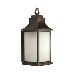Progress Oil Rubbed Bronze Outdoor Wall Light with Amber Glass