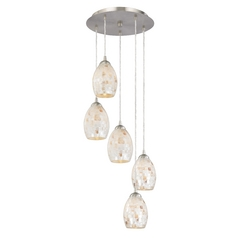 Adjustable Multi-Light Pendant Light with Five Mosaic Glass Shades