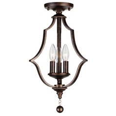 Crystorama Lighting Parson English Bronze Semi-Flushmount Light