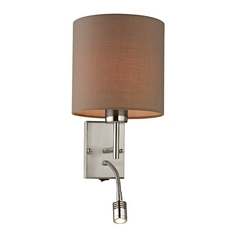 Modern LED Switched Sconce Wall Light in Brushed Nickel Finish