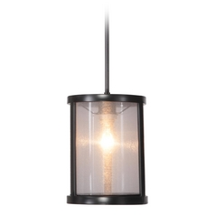 Jeremiah Lighting Danbury Matte Black Mini-Pendant Light with Cylindrical Shade