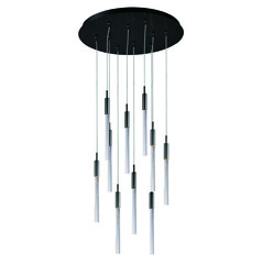 Scepter Black Chrome LED Multi-Light Pendant with Cylindrical Shade