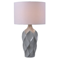 Kenroy Home Newport Gray Table Lamp with Drum Shade