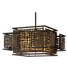 Corbett Lighting Shoji Bonsai Bronze Pendant Light with Square Shade
