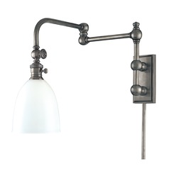 Swing Arm Lamp with White Glass in Antique Nickel Finish