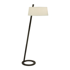 Modern Floor Lamp with White Shade in Black Bronze Finish