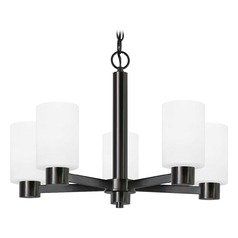 Satin White Glass Chandelier Black 5-Lt