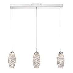 Quoizel Lighting Platinum Infinity Polished Chrome LED Multi-Light Pendant with Oblong Shade