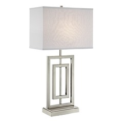 Lite Source Bensky Brushed Nickel Table Lamp with Rectangle Shade