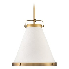 Hinkley Lighting Lark Lacquered Brass Pendant Light with Conical Shade