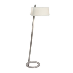 Modern Floor Lamp with White Shades in Satin Nickel Finish