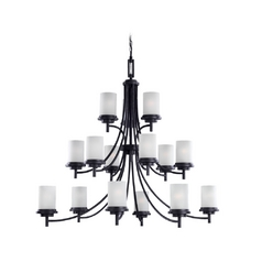 Modern Chandelier with White Glass in Blacksmith Finish