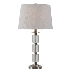 Kenroy Home Rochelle Brushed Steel with Crystal Accents Table Lamp with Empire Shade