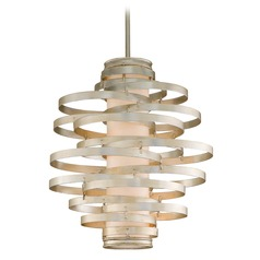 Corbett Lighting Vertigo Modern Silver Leaf Pendant Light with Cylindrical Shade