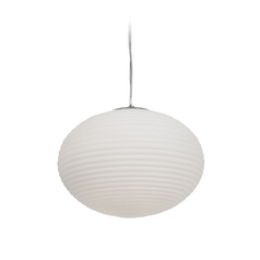 Modern Pendant Light with White Glass in Brushed Steel Finish