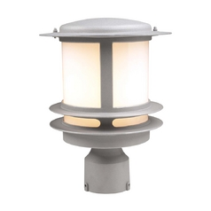 Modern Post Light with White Glass in Silver Finish