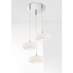 Holtkoetter Modern Low Voltage Multi-Light Pendant Light with White Glass and 3-Lights