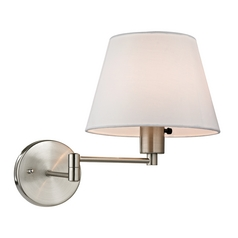 Modern Swing Arm Lamp with White Shade in Brushed Nickel Finish