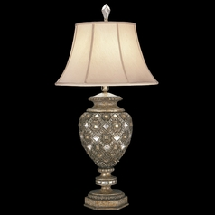 Fine Art Lamps a Midsummer Nights Dream Cool Moonlit Patina Table Lamp with Bell Shade