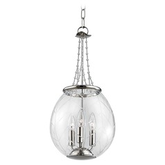 Hudson Valley Lighting Pierce Polished Nickel Pendant Light with Bowl / Dome Shade