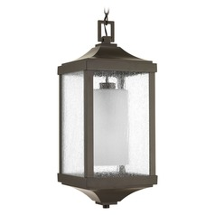 Etched Seeded Glass Outdoor Hanging Light Bronze Progress Lighting