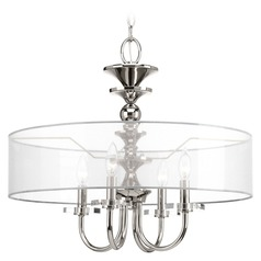 Polished Nickel Pendant Light with Drum Shade by Progress Lighting
