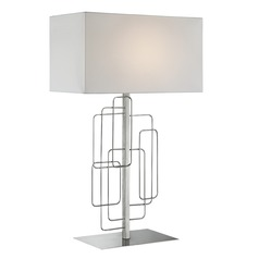 Lite Source Fayth Brushed Nickel Table Lamp with Rectangle Shade