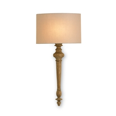 Sconce Wall Light with Beige / Cream Shade in Antiquity Gold Finish